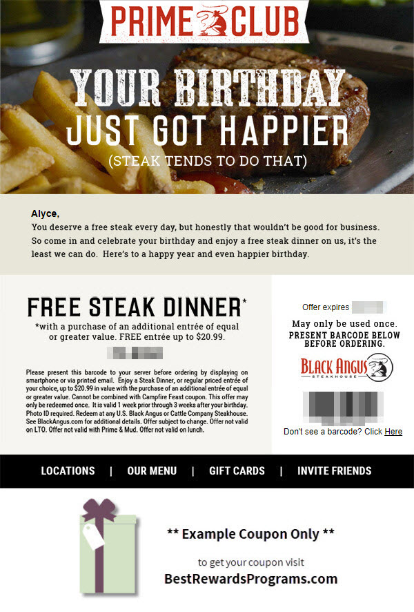 Free Birthday Meal at Black Angus Steakhouse  Best Rewards Programs