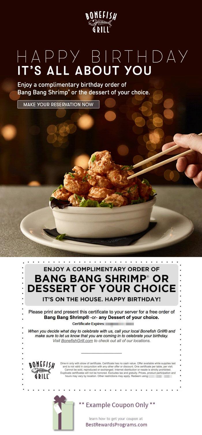 Bonefish Grill Birthday Gift - See 100's more Free Birthday Gifts at BestRewardsPrograms.com #BonefishGrill