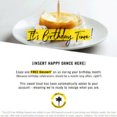 California Pizza Kitchen Free Birthday Gift with Signup