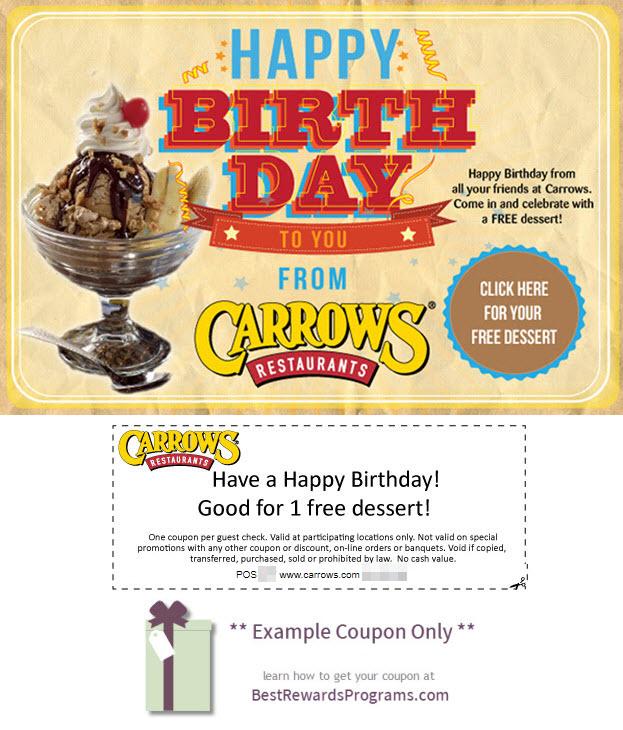 Carrow's Birthday Gift - See 100's more Free Birthday Gifts at BestRewardsPrograms.com #Carrow's
