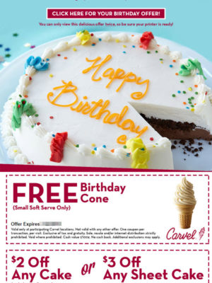 Carvel Free Birthday Gift - Birthday Cone and Cake Coupon