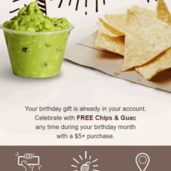 Chipotle Free Birthday Gift Chips and Guac with Signup