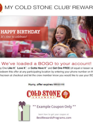 Cold Stone Creamery Free Birthday Gift with Signup