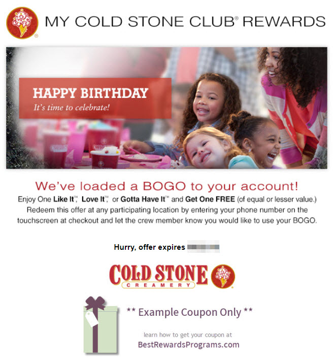 Cold Stone Creamery Birthday Gift - See 100's more Free Birthday Gifts at BestRewardsPrograms.com #ColdStone