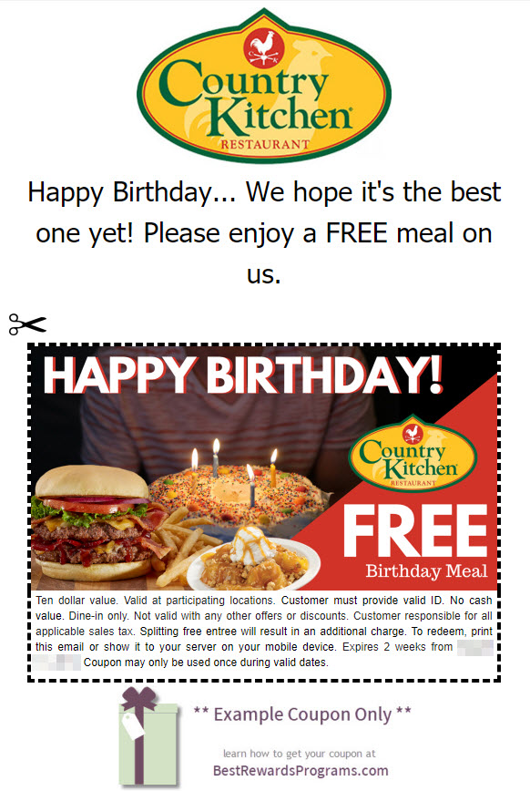 Country Kitchen Birthday Gift - See 100's more Free Birthday Gifts at BestRewardsPrograms.com #CountryKitchen