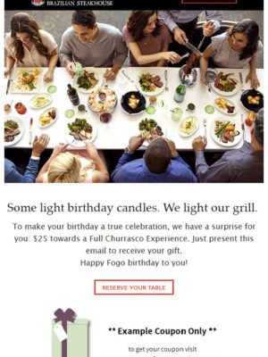 Fogo de Chao Free Birthday Meal
