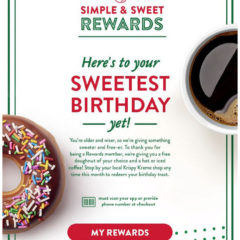 Krispy Kreme Free Birthday Doughnut and Coffee
