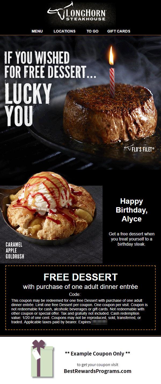 Longhorn Steakhouse Free B Day Food Best Rewards Programs