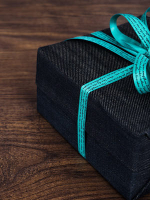 Gift Wrapped in Denim with Blue Ribbon