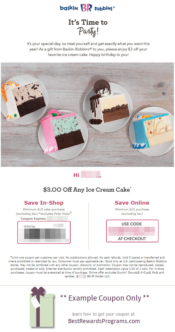 Baskin Robbins Birthday Gift - See 100's more Free Birthday Gifts at BestRewardsPrograms.com #baskinrobbins