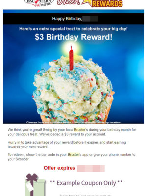 Bruster's Ice Cream Free Birthday Food #BrustersRealIceCream