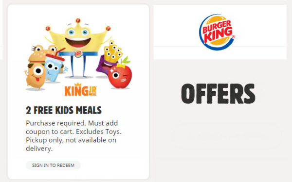 Burger King Free Kids Meals Offer