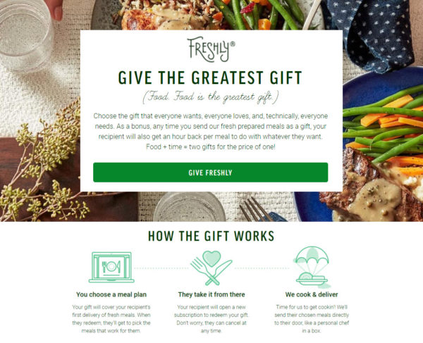 Freshly Meal Delivery Subscription Gift Plans