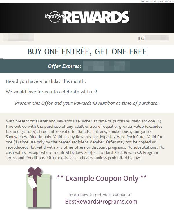 Hard Rock Birthday Gift - See 100's more Free Birthday Gifts at BestRewardsPrograms.com #hardrock
