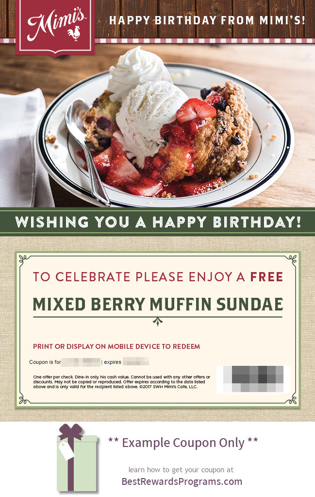 Mimi's Café Birthday Gift - See 100's more Free Birthday Gifts at BestRewardsPrograms.com #mimis_café