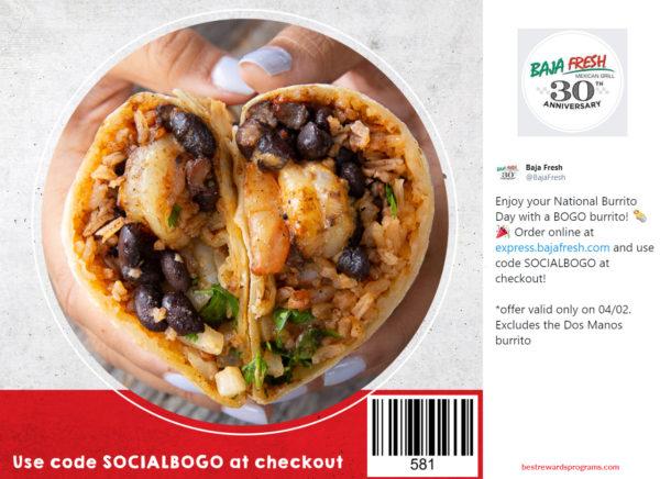 Free BOGO Offer at Baja Fresh for National Burrito Day 2020