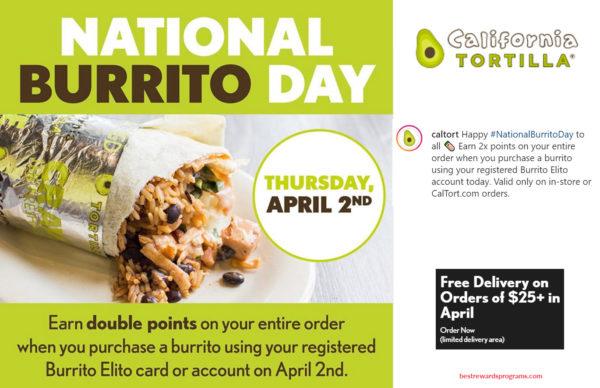 Free bonus points at California Tortilla for National Burrito Day
