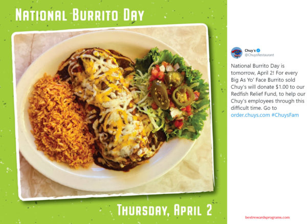 National Burrito Day Offer at Chuy's