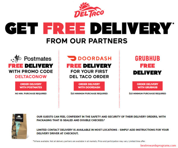 Del Taco 2020 Free Delivery Offers