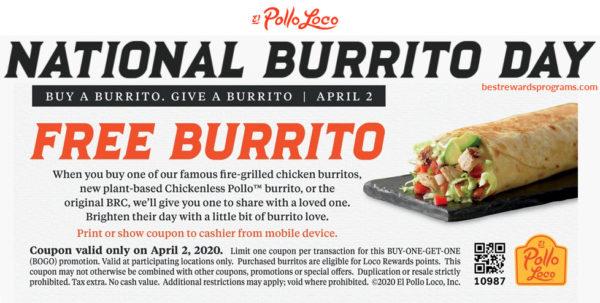 National Burrito Day 2020 at El Pollo Loco